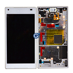 Genuine Sony Z5 Compact Complete lcd with frame and touchpad in White - Part number 1297-3732