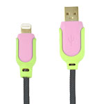 Micro USB Charge Sync Cable High Speed in Pink and Green 1.5M