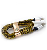 New Leather Look Snake Skin Lightning Cable with Yellow Pattern for iPhone 6 plus, 6S, 6, SE, 5 Series - 1 metre (Retail Packaging included separately)