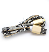 New Leather Look Snake Skin Lightning Cable with Beige/White Print for iPhone 6 plus, 6S, 6, SE, 5 Series - 1 metre (Retail Packaging included separately)