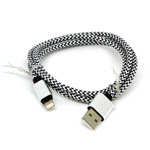 New Aluminum Braided Lightning Cable in Black and White for iPhone 6 plus, 6S, 6, SE, 5 Series - 1 metre
