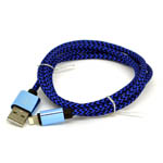 New Aluminum Braided Lightning Cable in Black and Blue for iPhone 6 plus, 6S, 6, SE, 5 Series - 1 metre