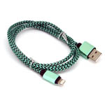 New Aluminum Braided Lightning Cable in Black and Green for iPhone 6 plus, 6S, 6, SE, 5 Series - 1 metre