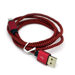 New Aluminum Braided Lightning Cable in Black and Red for iPhone 6 plus, 6S, 6, SE, 5 Series - 1 metre