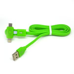 New 360 Degree Dual Head Micro Usb and Lightning Usb Cable in Green for iPhone,IPad,Samsung, HTC Series- 1 metre