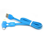 New 360 Degree Dual Head Micro Usb and Lightning Usb Cable in Blue for iPhone,IPad,Samsung, HTC Series- 1 metre