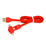 New 360 Degree Dual Head Micro Usb and Lightning Usb Cable in Red for iPhone,IPad,Samsung, HTC Series- 1 metre