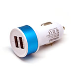 Nokoko Universal Dual USB Car Charger in White and Blue (GPS/ Tablets/ Smartphones/ iPhone)