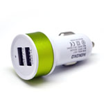 Nokoko Universal Dual USB Car Charger in White and Green (GPS/ Tablets/ Smartphones/ iPhone)