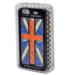 iPhone SE Hard Black Back Cover Case with Union Jack Theme and Swarowski Crystals-Celebration of England Olympics