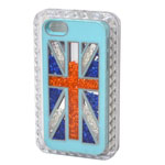 iPhone SE Hard Light Blue Back Cover Case with Union Jack Theme and Swarowski Crystals-Celebration of England Olympics