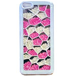 Luxury iPhone 5 Pentagon Bling Case with Pink and Clear Crystals in White