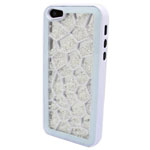 Luxury iPhone 5 Pentagon Bling Case with Clear Crystals in White