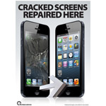 New Apple iPhone 5 Cracked Screens Repaired here A3 Poster Showing before and after