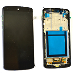 Genuine LG Nexus 5 (D820) Complete lcd and digitizer with frame in Black -Earpiece Mesh is White and Side frame is Glossy - (Known as white)  Part no: ACQ86661401/ACQ86661451