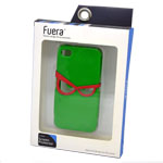 Fuera Rubber Back Cover Case with Glasses Design in Green and Red for iPhone 4/4S  (including Fuera Screen Protector)