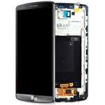 Genuine LG G3 (D855) Complete lcd with digitizer and frame assembly in Titanium Black - LG Part Number: ACQ87190302
