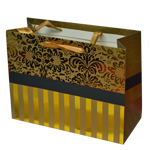 Special Christmas Offer- Decorated Shiny Bags with Flowers and Stripes in Gold- Size Medium-23x17.5 cm (Pack of 12 Bags)