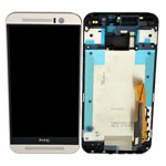 Genuine HTC One (M9) Complete Front Lcd  with Digitizer Touchscreen in Silver-HTC part no:80H01910-01