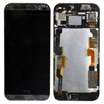 Genuine HTC One (M8) Complete Lcd with Digitizer Touchscreen and Frame in Black- Part no: 80H01757-18;80H01770-18 (Grade A)