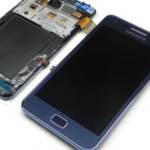 Genuine Samsung GT-I9105 Galaxy S2 Plus - Complete lcd with frame and touchpad in Pebble Blue - Part number: GH97-14301A