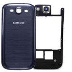 Samsung i9300 Rear Frame with camera cover lens and battery cover in pebble blue