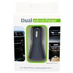 New 2.1A Dual USB Car Charger Iphone 5s, 5, 4s, 4, Ipad, HTC, Samsung and LG in retail packaging - Black