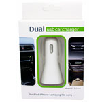 New 2.1A Dual USB Car Charger Iphone 5s, 5, 4s, 4, Ipad, HTC, Samsung and LG in retail packaging - White