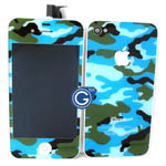 iPhone 4 Complete LCD Camouflage Blue Design with Back Cover Set