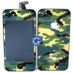 iPhone 4 Complete LCD Camouflage Green Design with Back Cover Set