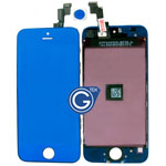 iPhone 5S Complete lcd and digitizer with frame in Crystal Mirror Blue- Replacement part (compatible)