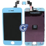 iPhone 5S Complete Lcd and Digitizer with Frame in Light Blue (Cyan) with Home Button