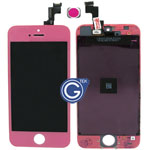 iPhone 5S Complete lcd and digitizer with frame in Pink with Home button- Replacement part (compatible)
