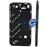 iphone 4 Graphite Grey midframe with black Swarovski Crystals diamonds- Replacement part (compatible)