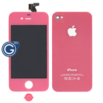 iPhone 4 Complete Lcd with Frame and Battery Cover with Home Button in Baby Pink
