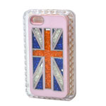 iPhone SE Hard Pink Back Cover Case with Union Jack Theme and Swarowski Crystals-Celebration of England Olympics