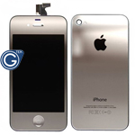 iPhone 4 LCD and Digitizer in Metallic Silver with Battery Cover and Home Button