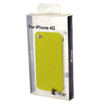 VStar Hard Plastic Back Cover Case with Black Dots in Yellow for iPhone 4/4S