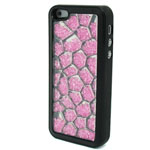 Luxury iPhone 5 Pentagon Bling Case with Hot Pink Crystals in Black