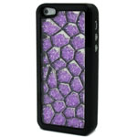 Luxury iPhone 5 Pentagon Bling Case with Purple Crystals in Black