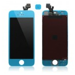 iPhone 5 Complete Lcd and Digitizer with Frame in Light Blue (Cyan) with Home Button