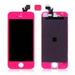 iPhone 5 Complete Lcd and Digitizer with Frame in Neon Pink with Home Button