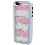 Luxury iPhone 5 Linear Bling Case with Pink and Clear Crystals in White