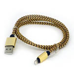 New Aluminum Braided Lightning Cable in Black and Gold for iPhone 6 plus, 6S, 6, SE, 5 Series - 1 metre