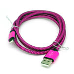 New Braided Lightning Cable in Hot Pink for iPhone 6 plus, 6S, 6, SE, 5 Series - 1 metre