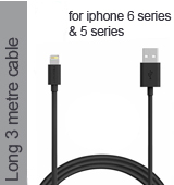 Lightning Pin Cable in Black for iPhone 6 plus, 6S, 6, 5 Series - Long 3 Metres Cable (Compatible)