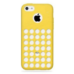 iPhone 5C Rubber Case with Retro Dots Holes in Yellow (minimum order 2 pcs)