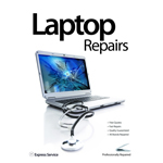 A3 Laptop Repairs Showing Cracked Screen  Poster In White - Designer Series