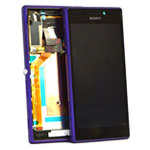 Genuine Sony Xperia M2 (D2303) Complete Lcd with Digitizer and Frame in Purple- Sony part no: 78P7120005N (Grade B)