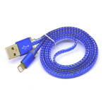 New Metal Fish Scale Lightning Cable in Blue for iPhone 6 plus, 6S, 6, SE, 5 Series - 1 metre